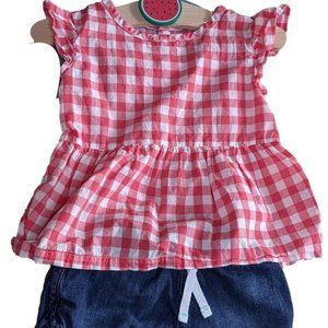 Baby Girls Kids Toddlers Carters Red Plaid Outfit